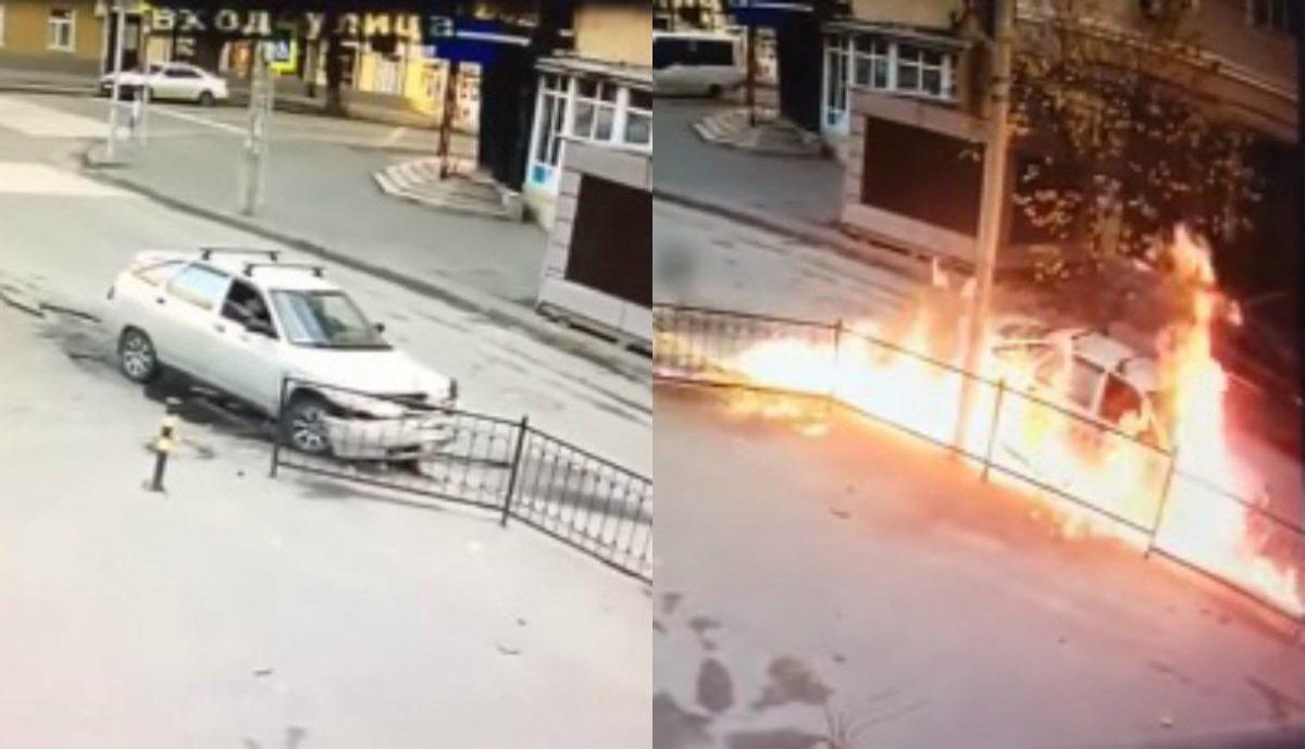 VIDEO: impresionante reacción de pasajeros cuando su auto se prende en llamas