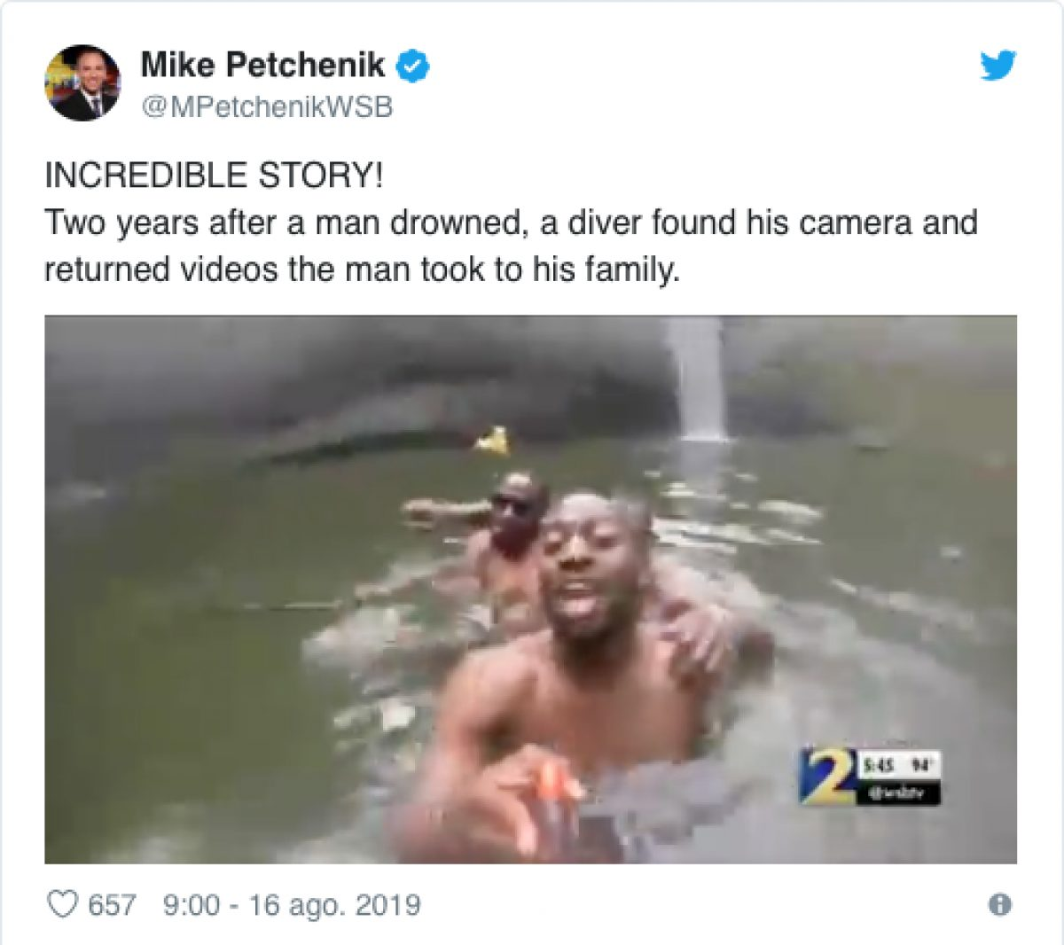 Encuentra una cámara con las últimas grabaciones de un hombre que se ahogó hace dos años