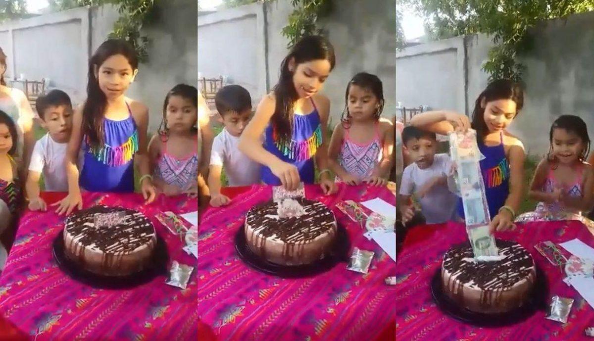 Niña encuentra fajo de billetes dentro de su torta de cumpleaños