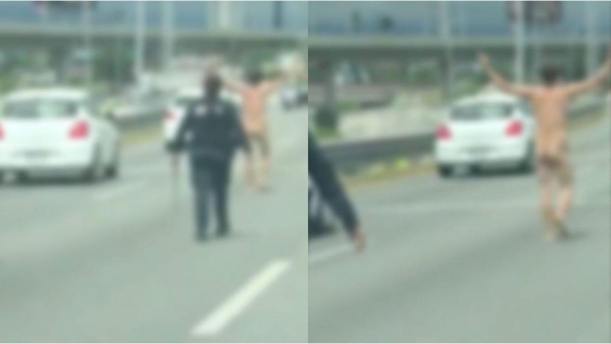 VIDEO VIRAL | Hombre completamente DESNUDO detuvo el tráfico en una avenida