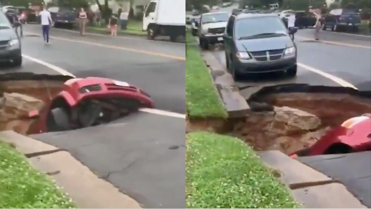 VIDEO | Impresionantes IMÁGENES: tierra se traga por completo un carro en EE.UU.