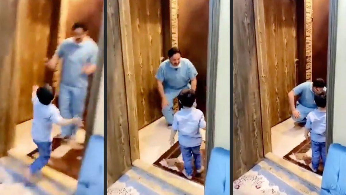VIDEO: Un médico se quiebra en llanto tras evadir un abrazo de su hijo al llegar a casa