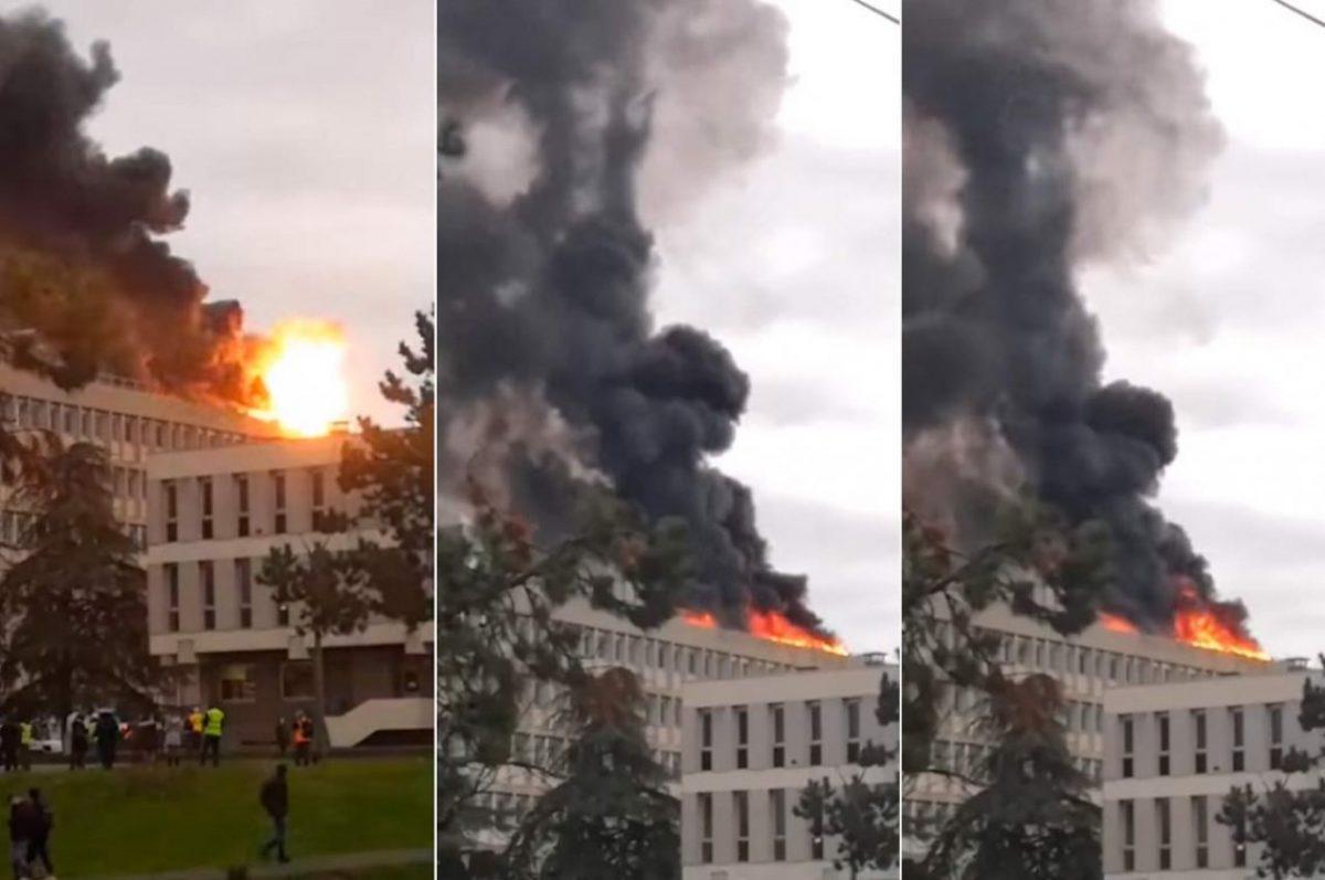 VIDEO | El momento de la explosión que causó pánico en una universidad en Francia