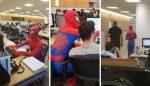 VIDEO   Va a trabajar  disfrazado de Spider-Man