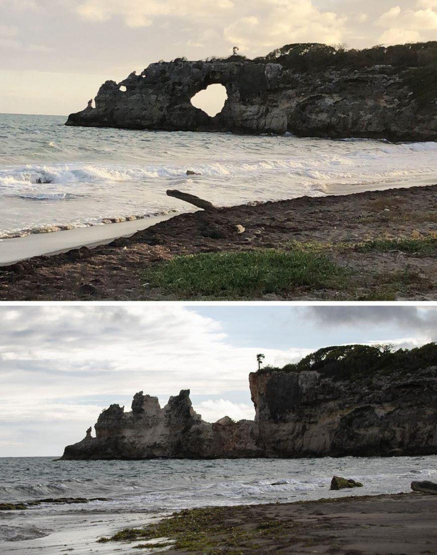 Punta Ventana antes y después de los terremotos que derrumbaron su famoso arco de piedra.
