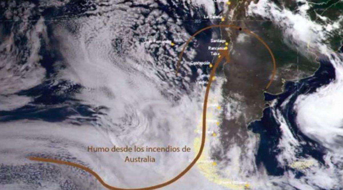 El humo de los incendios de Australia llegó esta semana hasta parte de Sudamérica.