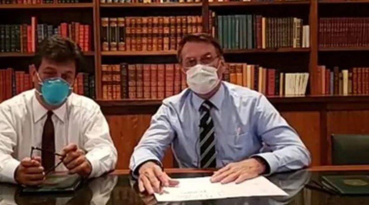 Jair Bolsonaro brindó un discurso en sus redes sociales utilizando una máscara por el coronavirus