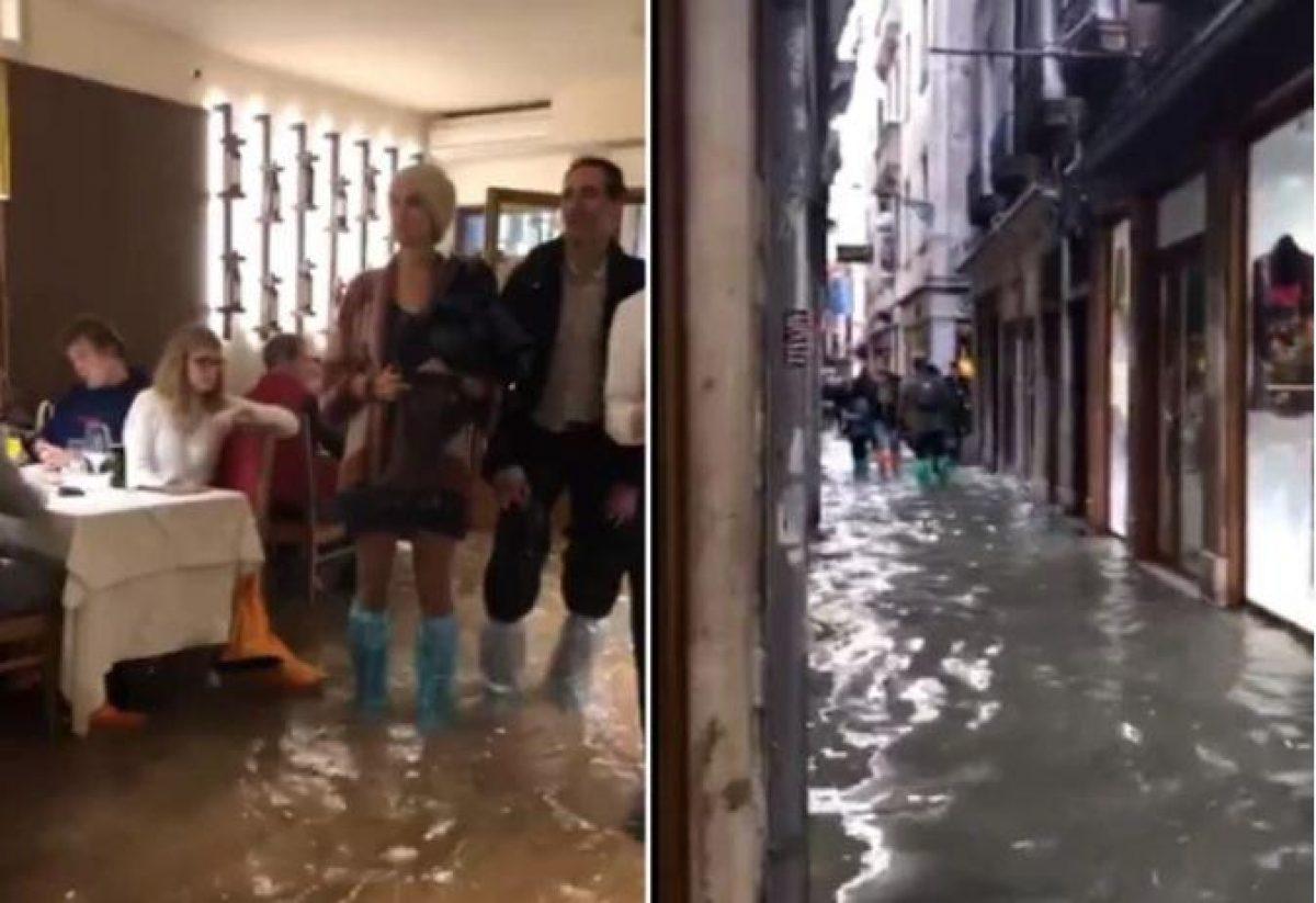 Dentro como fuera del local, el agua no impidió que los vecinos y turistas continúen con sus actividades