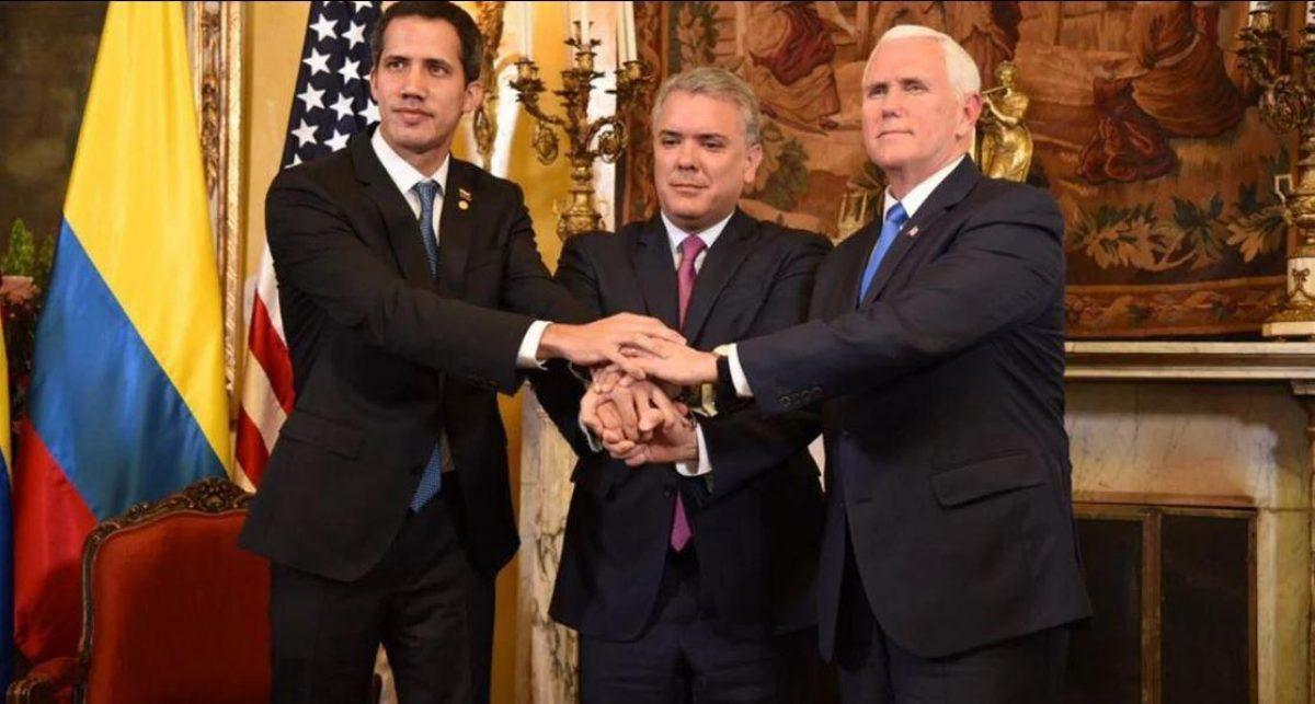 Juan Guaidó, Iván Duque y Mike Pence.