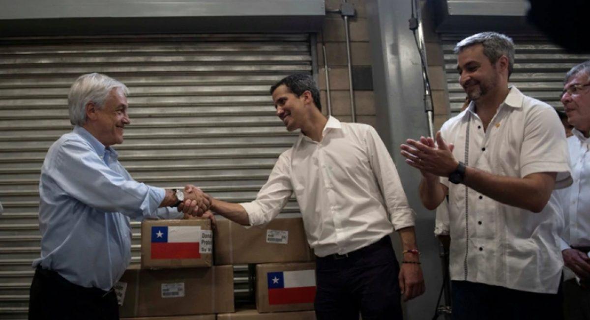 Piñera estuvo en Cúcuta junto a Guaidó, acompañando la entrega de la ayuda humanitaria