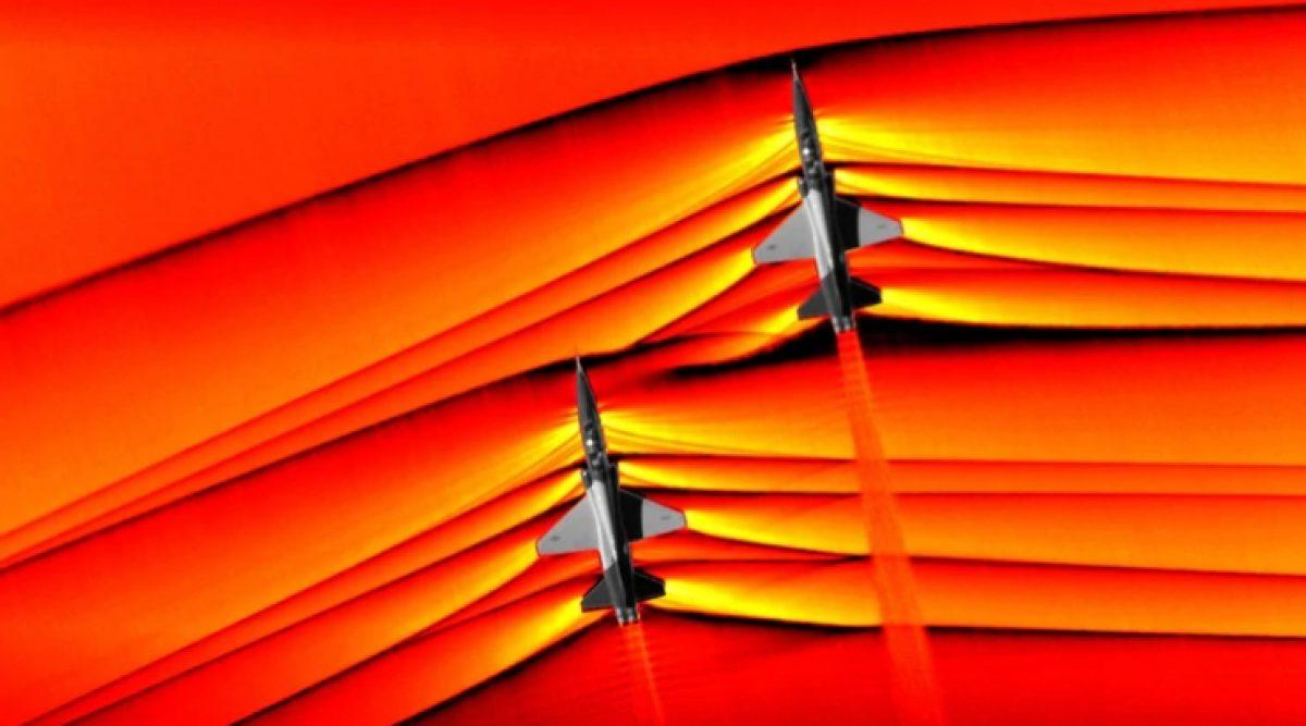 La primera imagen de las ondas de choque interactivas que producen dos aviones supersónicos de la NASA