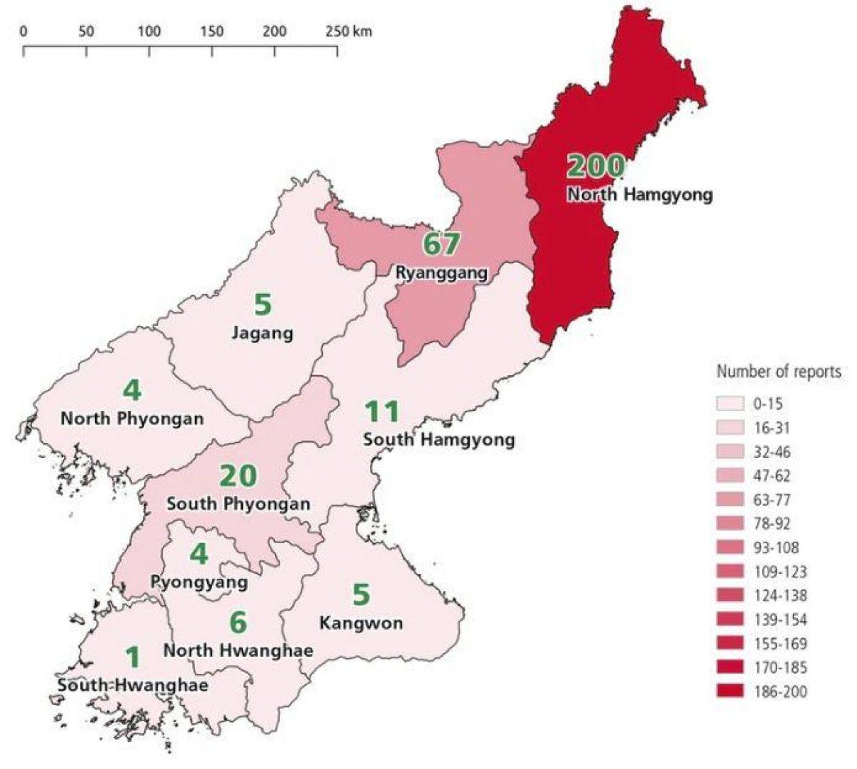 Los 323 sitios utilizados para ejecuciones en Corea del Norte, al momento identificados (TJWG)