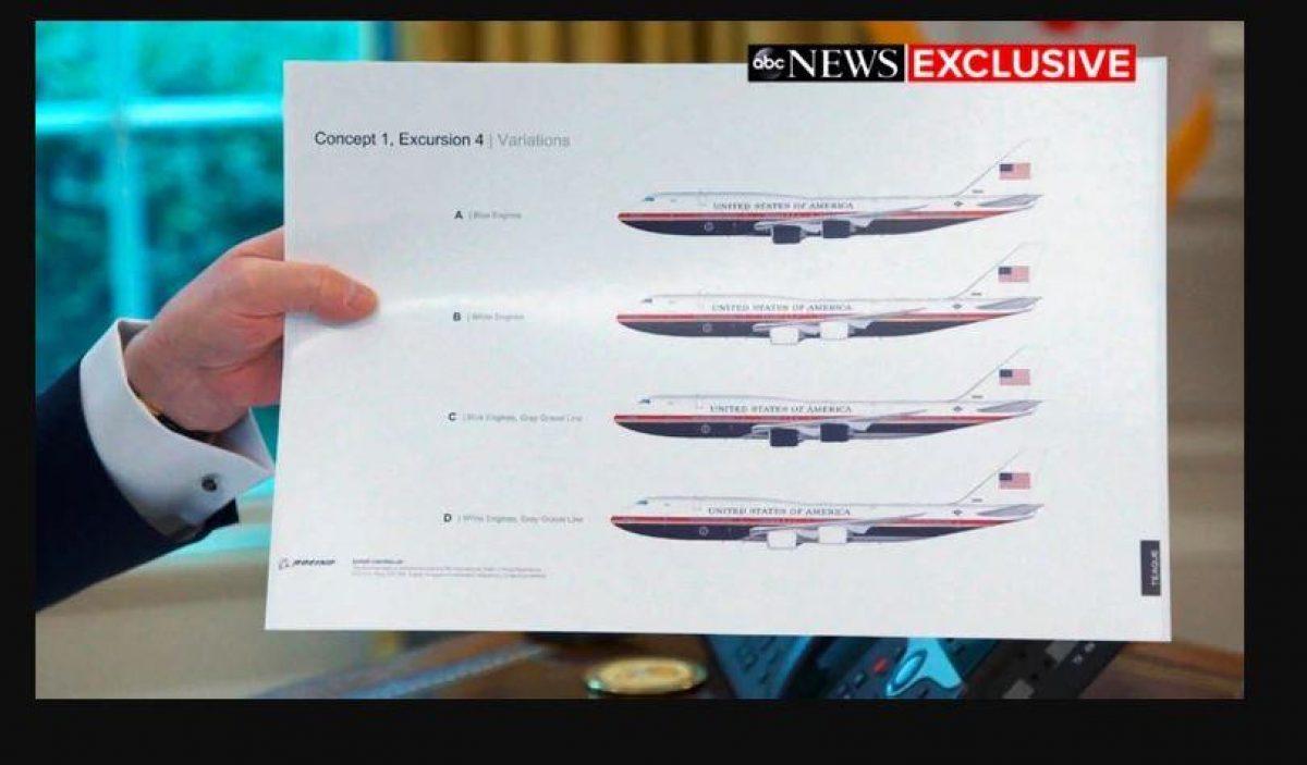 Trump mostró el rediseño del Air Force One (ABC News via AP)