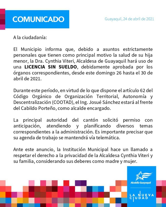 Comunicado emitido por Municipio de Guayaquil