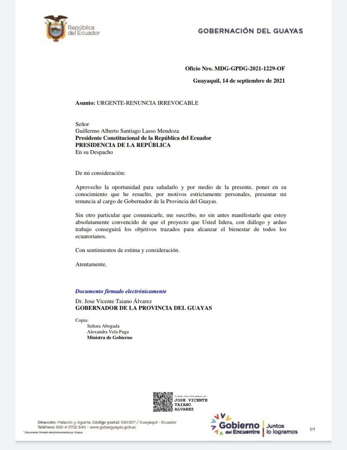Carta de renuncia del Gobernador del Guayas