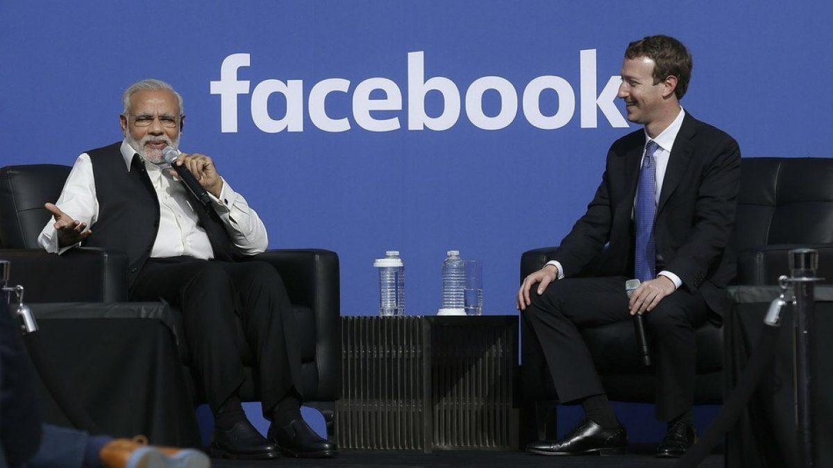 El primer Ministro de la India, Narendra Modi y el fundador de Facebook, Mark Zuckerberg