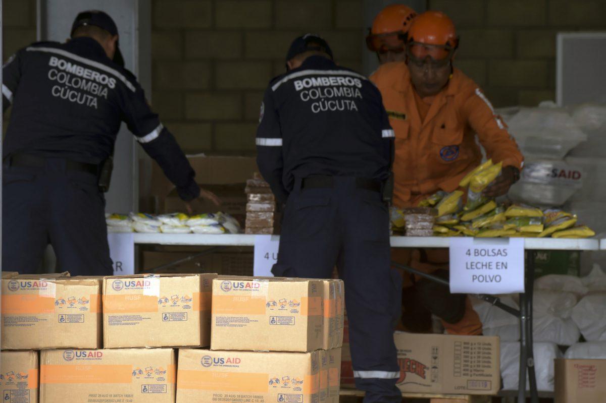 La ayuda humanitaria en Cucuta, Colombia, en la frontera con Venezuela. (Vía AFP)