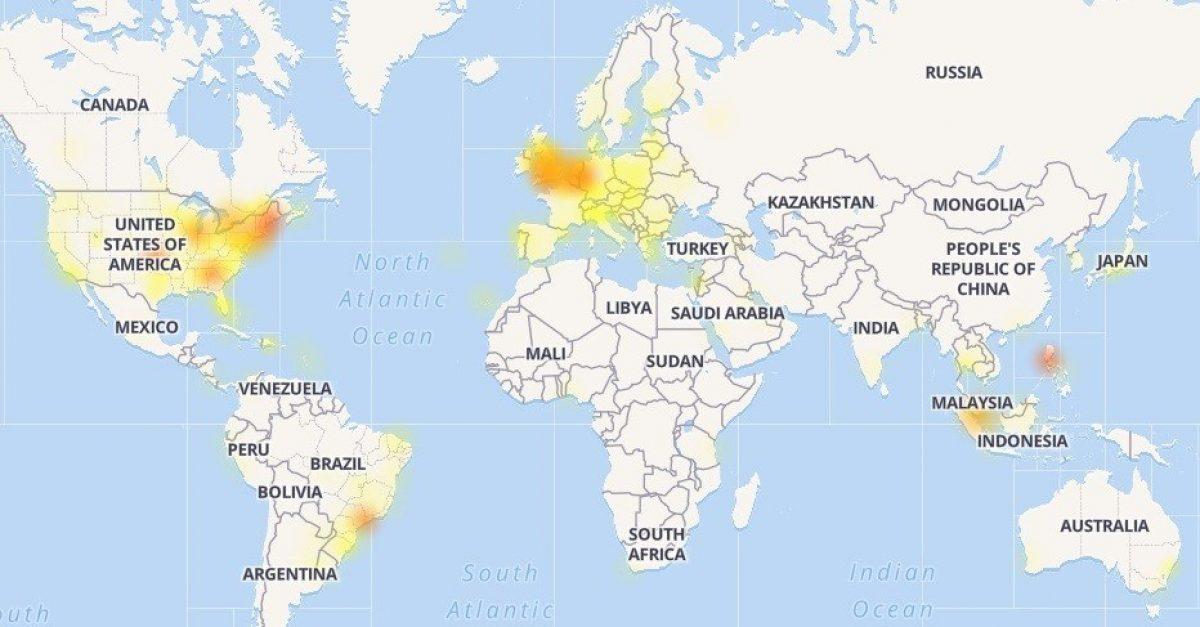 Mapa de los problemas experimentados por Facebook. / downdetector.com