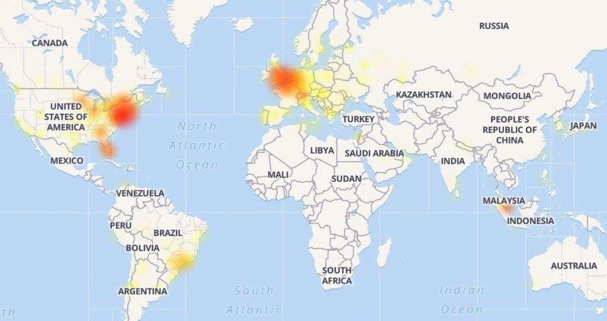 Mapa de los problemas experimentados por Instagram. / downdetector.com