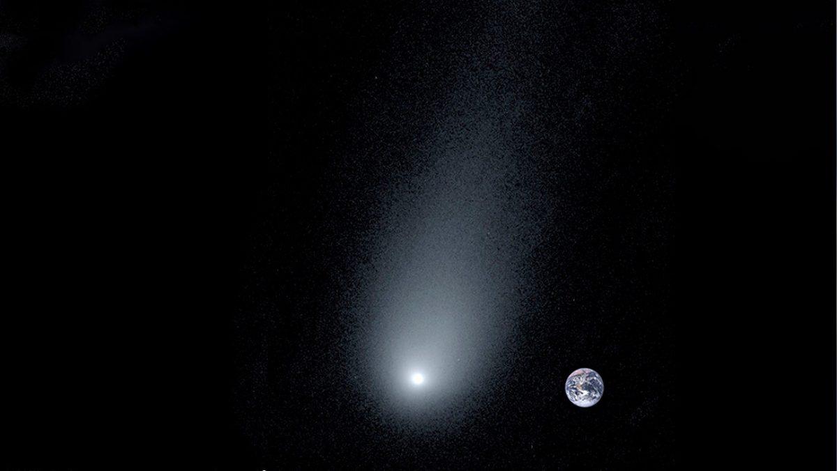 Una ilustración del cometa interestelar 2l/Borisov al lado de la Tierra