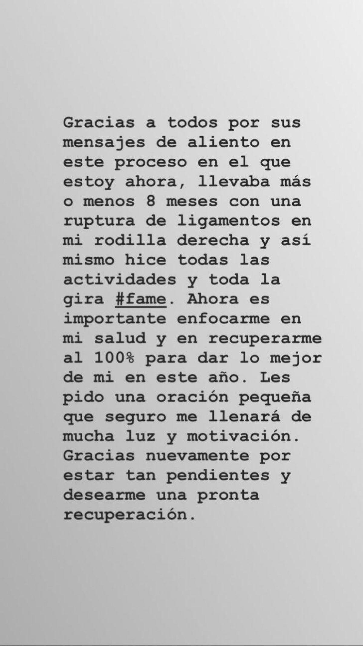 Comunicado de Maluma, donde explica el motivo de su operación.